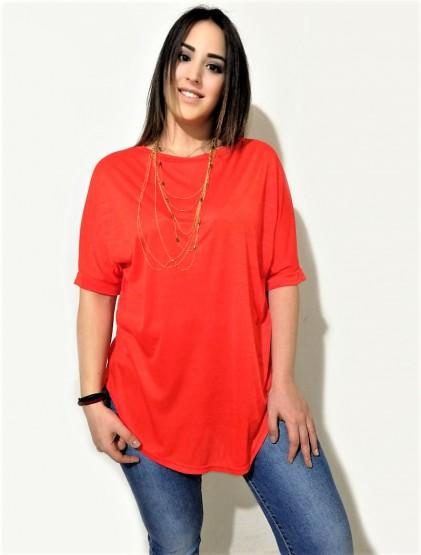 Basic μπλούζα με στρογγυλό τελείωμα κόκκινη