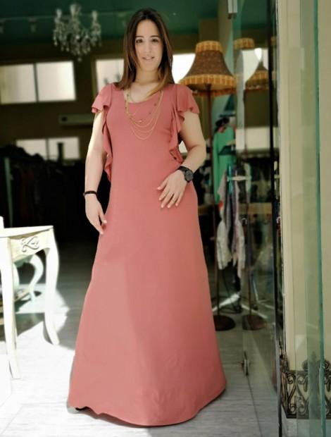 Dirty pink φόρεμα με βολανάκι μανίκια