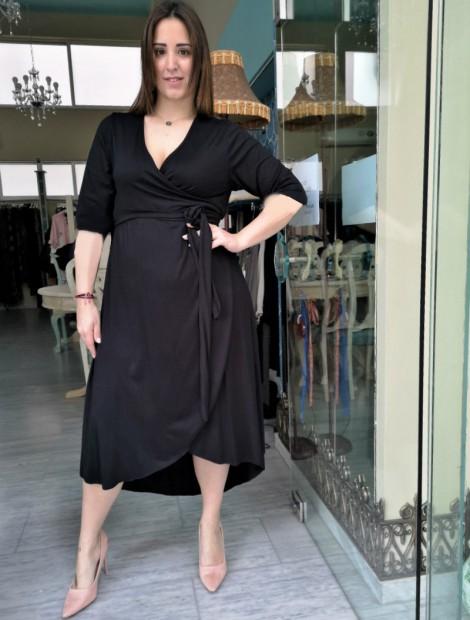 Ασύμμετρο wrap dress μαύρο