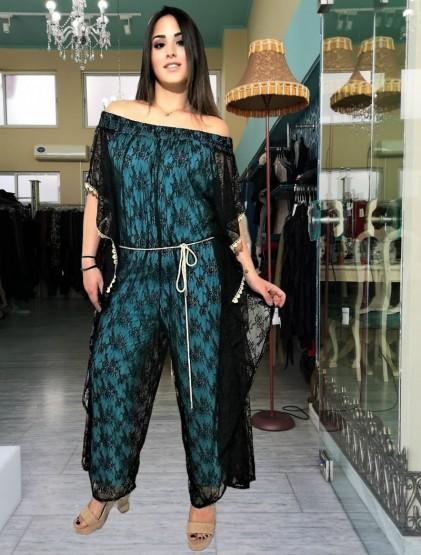 Ολόσωμη φόρμα-φόρεμα δαντέλα
