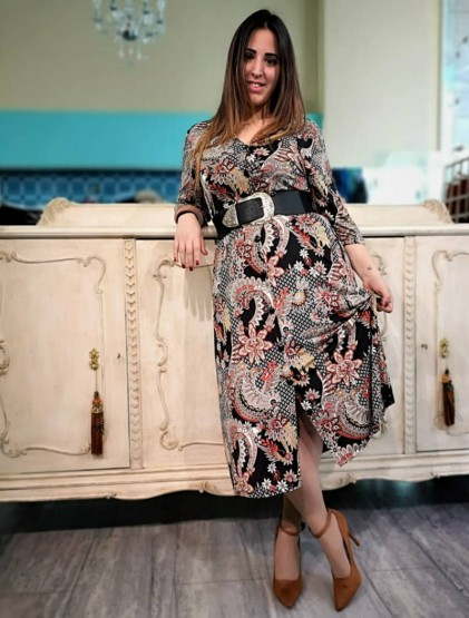 Εμπριμέ φόρεμα πουκάμισο