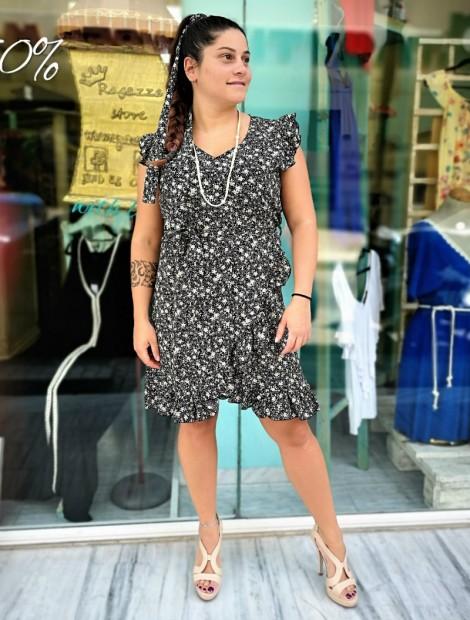 Μίνι φόρεμα με βολάν σε σταθερή βισκόζη