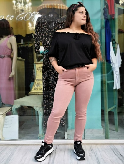 Dusty pink push up jeans